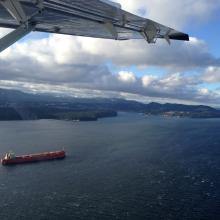 Freighter on its way to Nanaimo