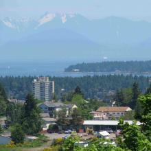 Nanaimo city, mountains and ocean