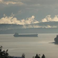 Freighter waiting in Nanaimo Harbour